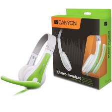 Austiņas CANYON CNS-CHSC11WG leater pads, white+green