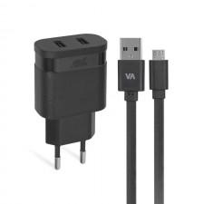 Tīkla lādētājs Rivacase micro USB VA4123 3.4A 2USB
